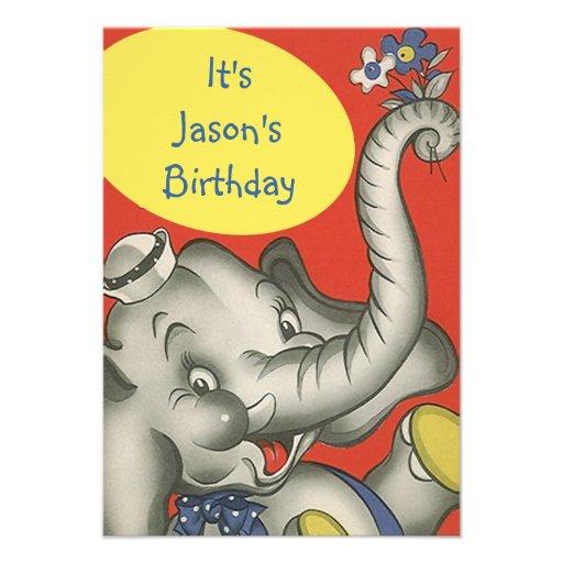 Cute Vintage Kids Party Invitations Sweet Elephant