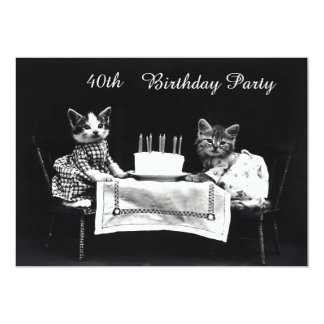 Cute Vintage Kittens 40th Birthday Party Card