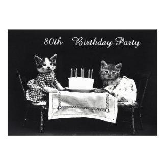 Cute Vintage Kittens 80th Birthday Party Custom Invites