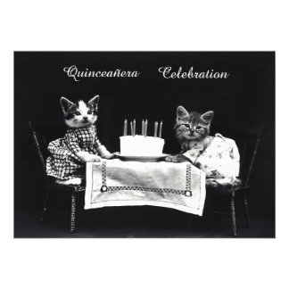Cute Vintage Kittens Birthday Party Personalized Announcement