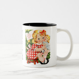 Cute vintage little girl with a doll coffee mug