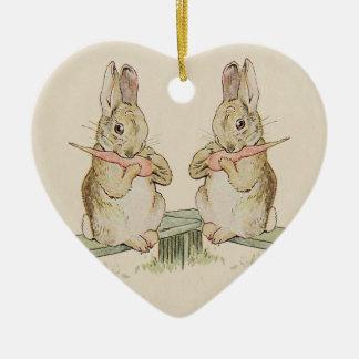 CUTE VINTAGE LOVE RABBITS BUNNY HEART ORNAMENT