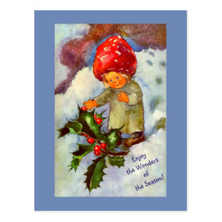 Cute Vintage Mushroom Child with Snow and Holly Postcard