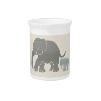 Cute Vintage Natural Colors Elephant with Baby Pitcher