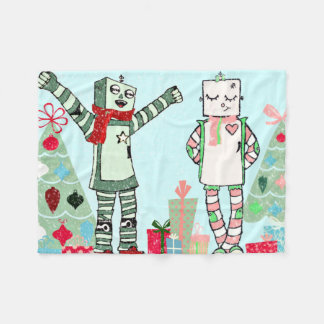 Cute Vintage Pastel Holiday Robots, Gifts & Tree Fleece Blanket