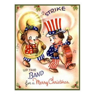 Cute Vintage Patriotic Animal Band Merry Christmas Postcard