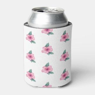 Cute Vintage Pink Hibiscus Design Can/Beer Cooler