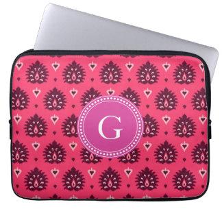 Cute vintage pink red girly ikat tribal pattern laptop sleeves