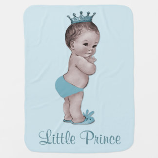 Cute Vintage Prince Baby Blue Receiving Blankets