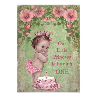 Cute Vintage Princess 1st Birthday Party Card