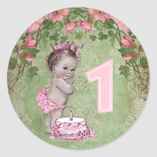 Cute Vintage Princess 1st Birthday Party Classic Round Sticker