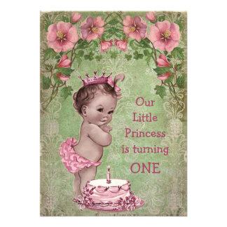 Cute Vintage Princess 1st Birthday Party Card