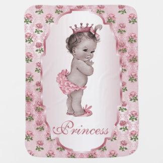 Cute Vintage Princess Baby Pink Roses Frame Baby Blanket