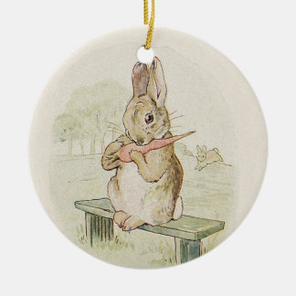CUTE VINTAGE RABBIT WITH CARROT BUNNY ORNAMENT