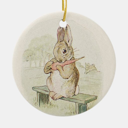 CUTE VINTAGE RABBIT WITH CARROT,  BUNNY ORNAMENT