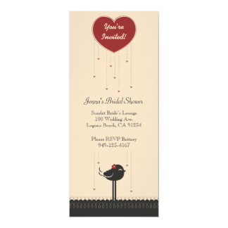 Cute Vintage Red & Black Love Bird Announcement