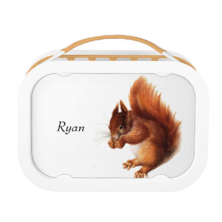 Cute Vintage Red Squirrel Personalised Lunch Box