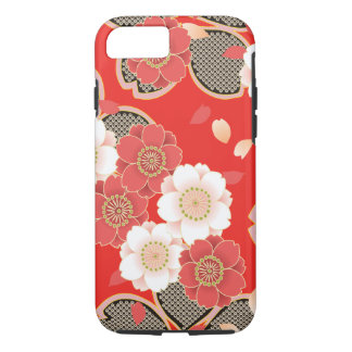 Cute Vintage Retro Floral Red White Vector iPhone 8/7 Case