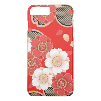 Cute Vintage Retro Floral Red White Vector iPhone 8 Plus/7 Plus Case