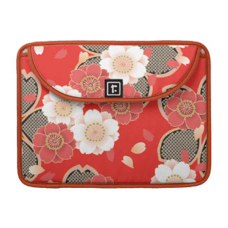 Cute Vintage Retro Floral Red White Vector Sleeve For MacBook Pro