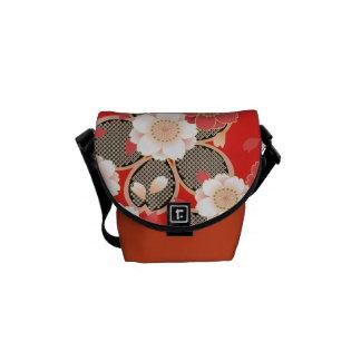 Cute Vintage Retro Floral Red White Vector Messenger Bag
