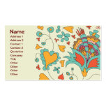 Cute Vintage Retro Hearts Flowers Business Card Template
