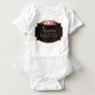 Cute Vintage Roses Girly Pink Floral Monogram Name Baby Bodysuit