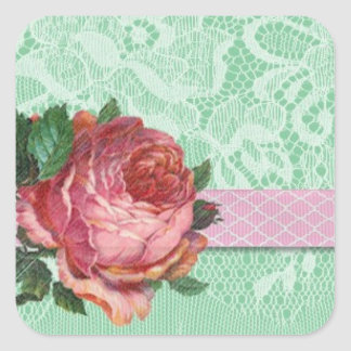 Cute Vintage Shabby Chic Rose and Lace Sticker