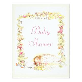Cute Vintage Sleeping Baby Girl & Toys Baby Shower 11 Cm X 14 Cm Invitation Card
