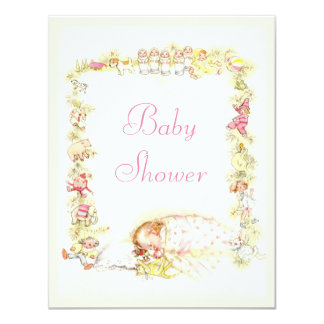 Cute Vintage Sleeping Baby Girl & Toys Baby Shower Card