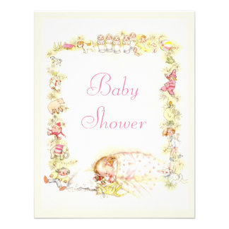 Cute Vintage Sleeping Baby Girl & Toys Baby Shower Custom Announcement