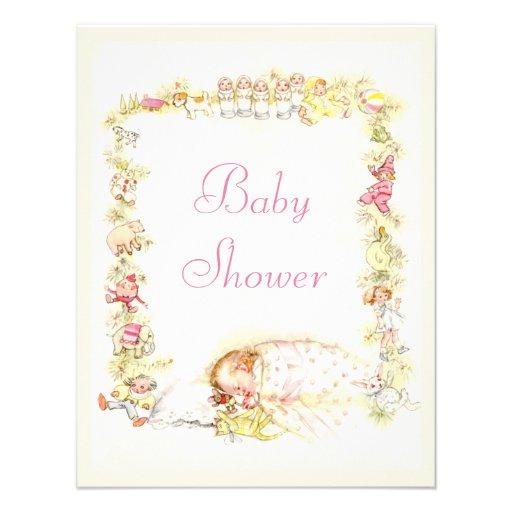 Cute Vintage Sleeping Baby Girl & Toys Baby Shower Custom Announcement