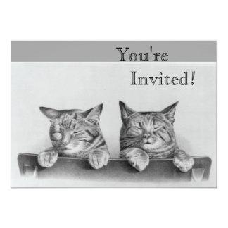 """Cute Vintage Sleepy Kittens 5"""" X 7"""" Invitation Card"""