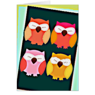 Cute Vintage Style Multi Colored Owls Card