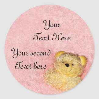 Cute Vintage Teddy Decor Baby Shower Thank You Classic Round Sticker