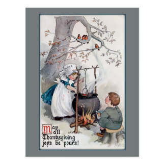 Cute Vintage Thanksgiving Children Postcard
