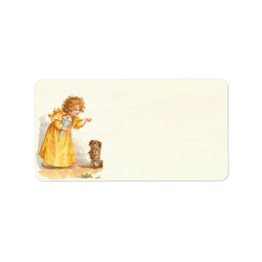 Cute Vintage Victorian Girl with Puppy Brundage Label
