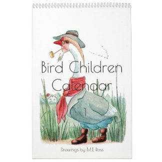 Cute Vintage Watercolor Drawings Bird Children 1 Calendars