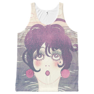 Cute vintage woman All-Over print singlet