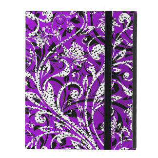 Cute violet black white dalmatian floral patterns iPad folio case