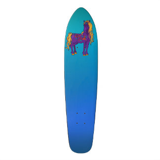Cute Violet Magic Horse Fantasy Illustration Skate Boards