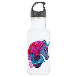 Cute Violet Magic Unicorn Fantasy Illustration 532 Ml Water Bottle