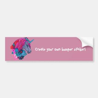 Cute Violet Magic Unicorn Fantasy Illustration Bumper Sticker