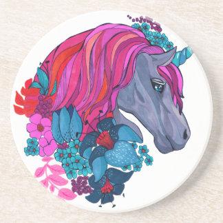 Cute Violet Magic Unicorn Fantasy Illustration Coaster