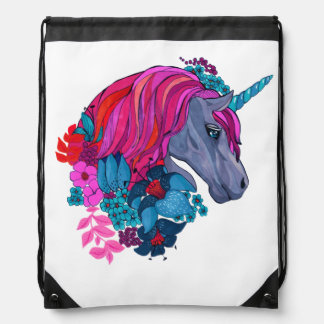 Cute Violet Magic Unicorn Fantasy Illustration Drawstring Bag