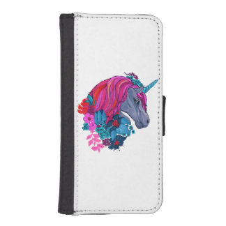 Cute Violet Magic Unicorn Fantasy Illustration iPhone SE/5/5s Wallet Case