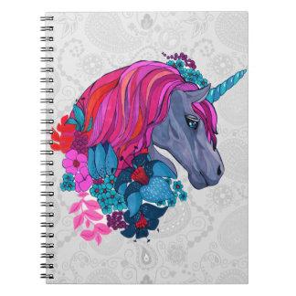 Cute Violet Magic Unicorn Fantasy Illustration Notebooks