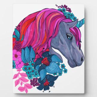 Cute Violet Magic Unicorn Fantasy Illustration Photo Plaques