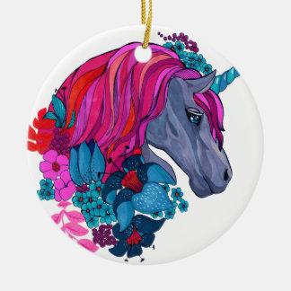 Cute Violet Magic Unicorn Fantasy Illustration Round Ceramic Decoration