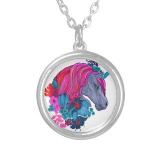 Cute Violet Magic Unicorn Fantasy Illustration Silver Plated Necklace